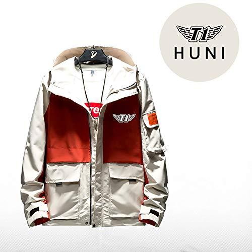 73HA73 Kapuzen Sweatshirt Herren Full Zip LOL League of Legends SK Telecom T1 E-Sport HUNI Coat Jacke Teen Fashion Komfortable Sweatshirt (No Shirt),orange,2XL(180-185cm)