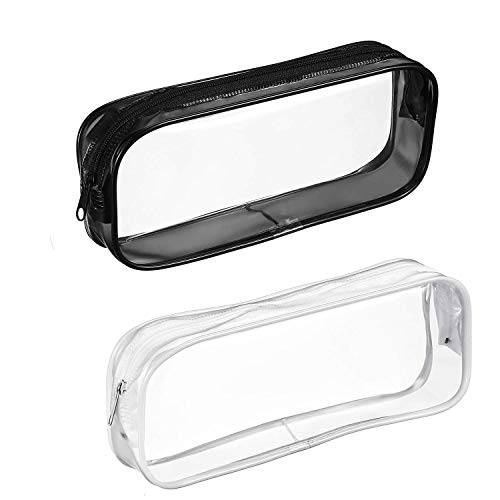 Clear PVC Zipper Pen Pencil Case,Portable Travel Toiletry Bag,Big Capacity Stationery Pencil Bag(Black an&White) (2Pack)
