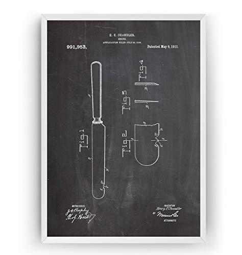 Messer 1911 Patent Poster - Knife Print Jahrgang Drucke Drucken Bild Kunst Geschenke Zum Männer Frau Entwurf Dekor Vintage Art Blueprint Decor - Rahmen Nicht Enthalten
