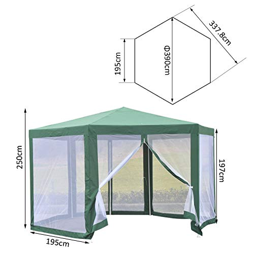 Outsunny Carpa Gazebo Hexagonal Mosquitera