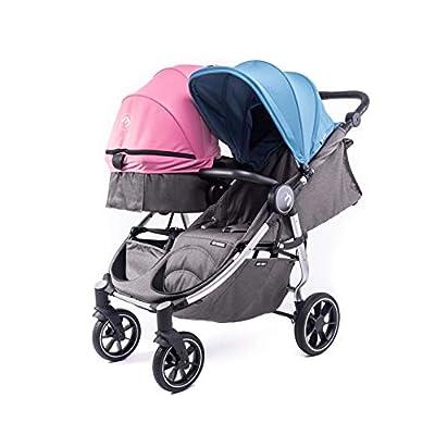 Silla Gemelar Easy Twin 4 Chasis Silver + 1 Capazo Baby Monsters Plástico de Lluvia y Barras Frontales incluidas Color Atlantic y Milkshahe