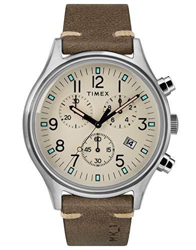 Timex Herren Chronograph Quarz Uhr mit Leder Armband TW2R96400