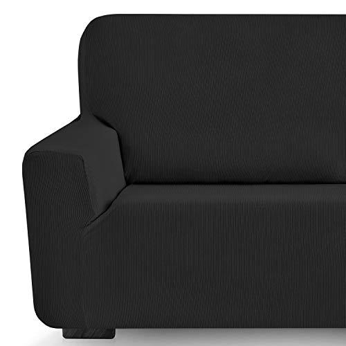 Eiffel Textile Milan Fundas para Sofa Elastica Adaptable Lisa, 94% poliéster 6% Elastano, Negro, Set 3+1+1 Plazas