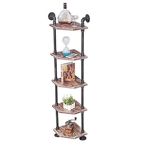 MBQQ Industrial Pipe Shelves Modern/Rustic Corner Book Shelves with Real Wood,5-Tier Corner Shelves Bookshelf Display Stand,Metal Standing Home Decor Shelf Units