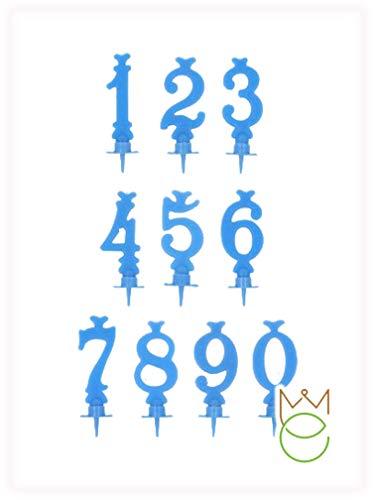 Candele singole per torte di compleanno con supporto, di colore azzurro a forma di numero (2)