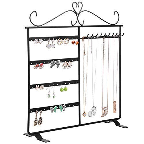 MyGift Metal Jewelry Tower Compact Earrings Organizer Necklaces Hanger Bracelets Display Stand Black