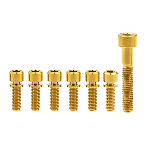 Yaruijia Square Head Titanium Allen Bolts M6x35mm and Hexagon Socket Screws with Washer M5x16mm M5x18mm M5x20mm for Bicycle Stem (M5x20mm+M6x35mm, Gold)