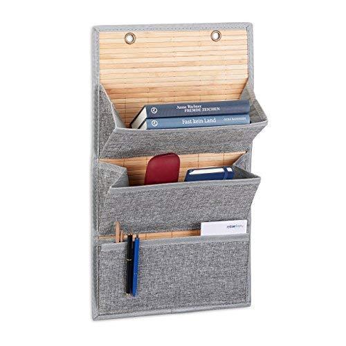 Relaxdays wandorganizer bamboe met 3 jutepatronen vakken, 58 x 34 x 15 cm HxBxD krantenhouder voor kantoor en hal, grijs