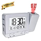 [page_title]-Queta Projektionswecker Digital Uhr mit Zeit Temperatur Projektion, mit Dual-Alarm, Luftfeuchtigkeit, Snooze, Timer, Kalender, USB-Anschluss (Silber)