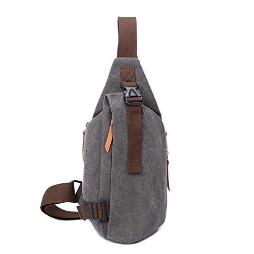 Toile poitrine Pack Sling Pack hommes mode loisir messager sac sport sacs à dos en croix corps sac pour la randonnée Camping gym cyclisme vélo , grey