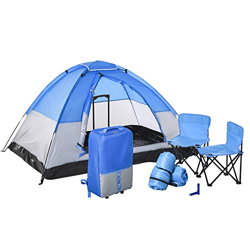 """Outsunny Kids Camping Tent with Chairs, Sleeping Bags, Flashlights, Trolley Case, 69"""" L 53.25"""" W 37.5"""" H, Blue/Grey"""