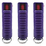 POLICE MAGNUM Keychain Pepper Spray for Self Defense- 3 Pack Half oz Injection Molded (Purple)