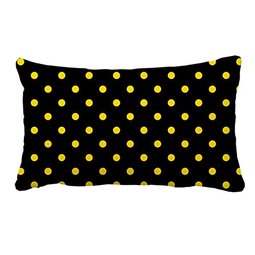 N\A Cubierta de Almohada Interior al Aire Libre con Lunares Negros Amarillos