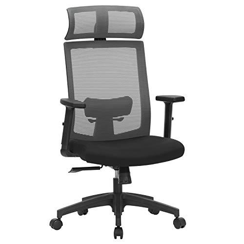 SONGMICS Bürostuhl, Schreibtischstuhl mit Netzbespannung, ergonomischer Computerstuhl, 360° Drehstuhl, verstellbare Lendenstütze, mit Kopfstütze, arretierbarer Neigungswinkel bis 120°, grau OBN55BG