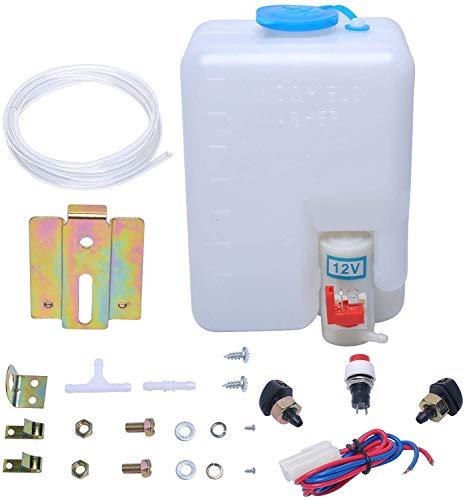 12V Botella Lavaparabrisas Kit de Depósito de Bomba de Lavador de Parabrisas Herramientas de Limpieza Universal Poweka para Coches Clásicos Barco Marina