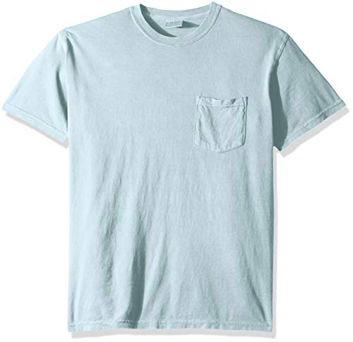 Comfort Colors Men's Adult Short Sleeve Pocket Tee, Style 6030, Chambray, Large