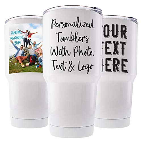 Custom Photo Tumbler w/Splash Proof Lid, 20 oz - Stainless Steel Vacuum Insulated Travel Coffee Mug with Any Picture and Text - Personalized Gifts,...