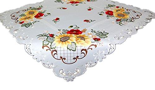 Espamira Tischdecke 85x85 cm weiß Mohn Blume Sonnenblume Polyester Mitteldecke Herbstdecke Decke Tischdeko