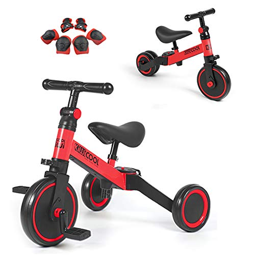 YQYM 3 in 1 Kids Trike for Children 1-3 Years Old Kids, Convert 2 Wheel Toddler Bike with Removable Pedal and Adjustable Seat, Best First Birthday New Year Holiday Toy Gifts