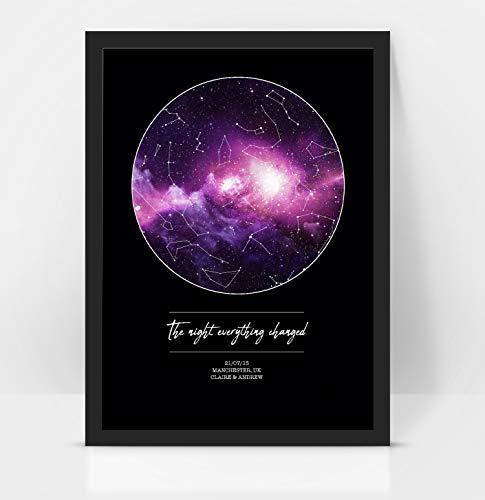 Gepersonaliseerd 'De nacht alles veranderd'-jubileum/huwelijkscadeau Star MAP/sterrenbeeld Night Sky Print - Verjaardagscadeau/Valentijnsgeschenk A3 with frame Zwart