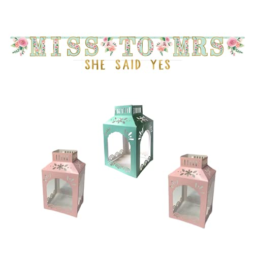 Miss to Mrs. Bridal Shower Decorations - Kit Includes (1) Miss to Mrs. Banner, (1) She Said Yes Banner, and (3) Centerpieces