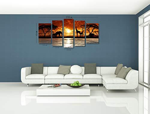 Konda Art Landscape Canvas Wall Art Modern African Home Decor Giraffe Painting Sunset Tree Print Picture 5 Piece Framed Artwork for Living Room Ready to Hang African Giraffes, 40x 20