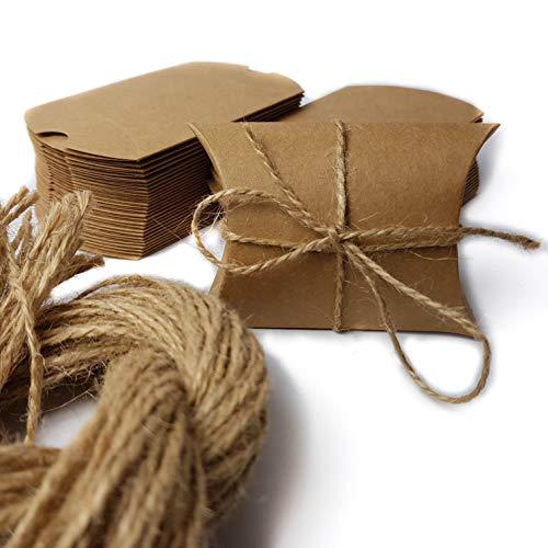 ZooJa Geschenkverpackung Schachtel aus Kraftpapier mit Hanfseil 50 mini Pappschachteln als Geschenkboxen für Adventskalender Geschenkschachtel klein als Hochzeit Gastgeschenke Karton