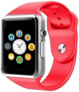 MAKECELL Red Bluetooth Smart Watch Compatible with All 3G, 4G Phone with Camera and Sim Card Support A1 for Men boy Kids Girls and Women