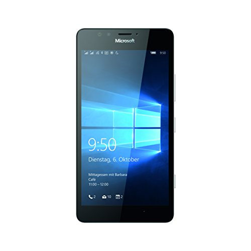 Microsoft Lumia 950 Dual SIM Smartphone, Display 5,2 Pollici, Memoria 32 GB, Fotocamera 20 MP, Windows 10, Nero [Germania]