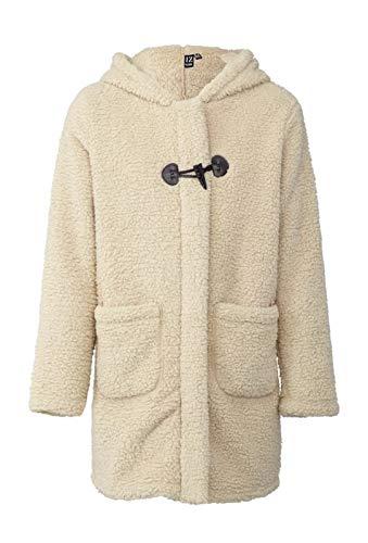 FunkyFashion Womens Teddy Bont Jacket Wit Lange Mouw Dames Warm Gezellige Zip Up Jas Voorvak Vest Top Trui Herfst Winter Bovenkleding UK Maat 8 10 12 14 16