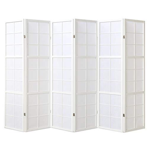 Homestyle4u 440, Paravent Raumteiler 6 teilig, Holz Reispapier Weiß, Höhe 175 cm