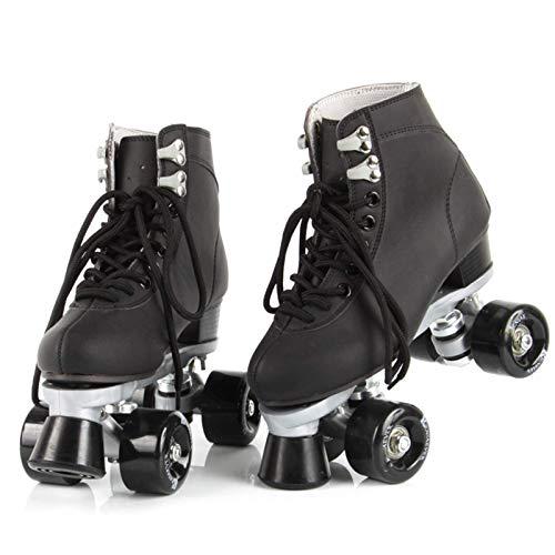 Zjcpow Al Aire Libre del Patio de los Patines de Jóvenes Adultos de artístico sobre Ruedas del patín Botas de Competencia Formación Danza, Clásica Doble Fila Roller Skates, Negro, 36 xuwuhz
