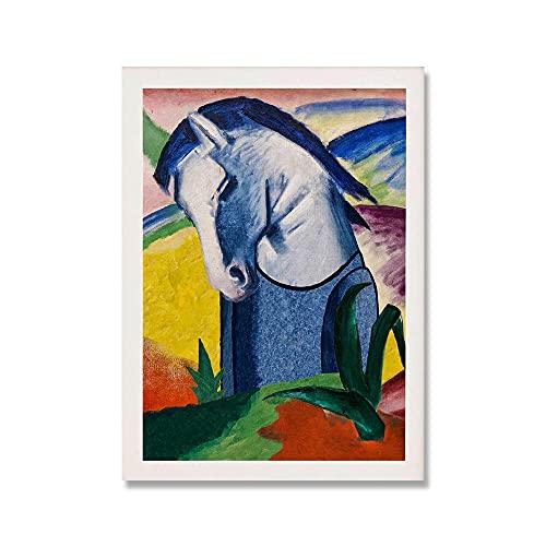 YCHND Artista Abstracto Franz Marc Cuadros Arte De La Pared Caballo Azul Pinturas En Lienzo Poster E Impresiones Famosos Salon De Estar NóRdica Decoracion para El Hogar 50x70cm Sin Marco