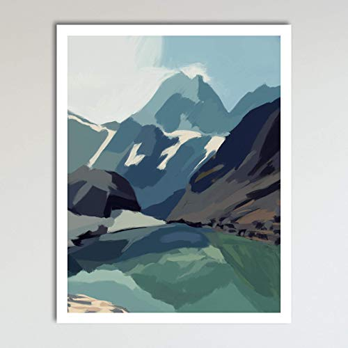 Reflecting Mountains, Abstract Contemporary Landscape Home Wall Art Decor Print Poster Modern Contemporary Boho Home Decor 11x14 Inches, Unframed