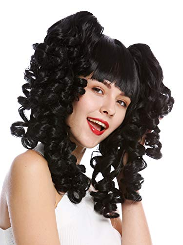 WIG ME UP - YZF-7080+A-1 Perruque dame cosplay trois parties carré court + couettes amovibles boucles spirales noir