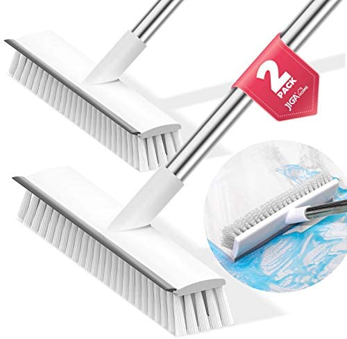 JIGA 2 Pack Floor Scrub Brush with Long Handle Stiff Bristle Brush Scrubber Cleaning Brush for product image