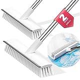 JIGA 2 Pack Floor Scrub Brush with Long Handle, Stiff Bristle Brush Scrubber, Cleaning Brush for Deck, Bathroom, Tub,...