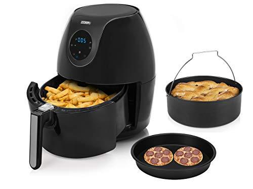 Friggitrice ad aria calda digitale XXL, con padella per pizza e stampo, 5,2 litri, con display digitale, senza olio