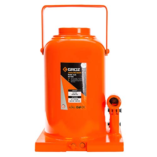 Groz 50-Ton Hydraulic Bottle Jack | Load Limiting Device | Leak Proof Welded Construction | 2-Piece Lifting Lever Rod | Conforms to ASME PALD 2009 (61717)