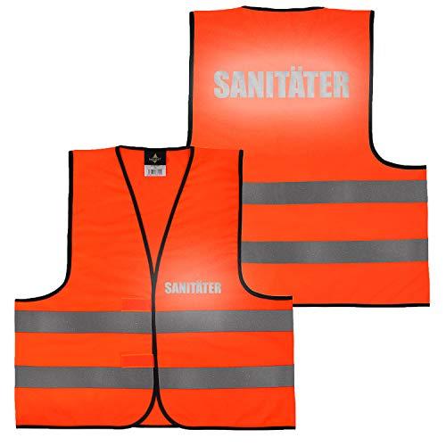 Warnweste Gelb Orange, beidseitig bedruckt auf Brust und Rücken Reflex mit Ordner, Security große Auswahl Motive Aufdrucke 017 Sanitäter (Orange) M