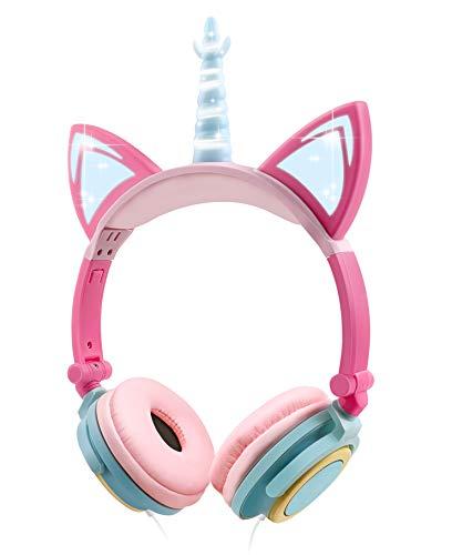 Cuffie Unicorno Bambina, Sunvito cuffie gatto orecchie led, Cuffie per Bambini Unicorno con filo, 85dB, Pieghevoli cuffie bambine, Scuola, Compleanno Regalo (Colorful)