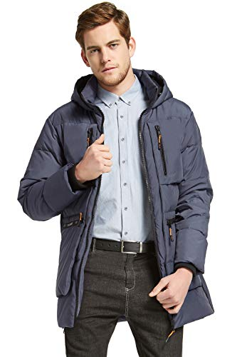 Orolay Men's Thickened Down Jacket Classical Winter Hooded Coats with Multiple Pockets Blue L