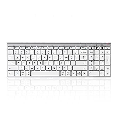 Multi-Device Bluetooth Keyboard for Mac/iPad/Android/Windows, Slim Compact Rechargeable Bluetooth Keyboard with Number Pad and Seamless Switch Among 3 Devices (White and Silver)