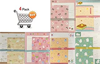 Japanese Style Pattern Random assort Letter Set 4 Design 40 Writing Paper + 20 Envelopes Paper Stationary Japan (4 Pack)