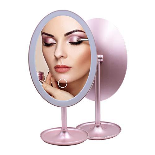 Espejos compactos Maquillaje con Luz LED, Espejo Cosmético Pequeño Espejo de Mesa Iluminado, con 3 Luces Ajustables, Plegable Recargable USB Rosado