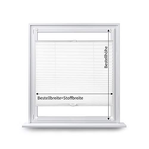 Eurohome Plissee klemmfix ohne Bohren für Fenster 110x130cm Weiß