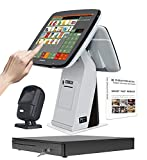 ZHONGJI Retail Point of Sale System - Includes Touchscreen PC, Built-in 3 1/8'' Thermal Receipt Printer, POS Software (No Monthly Fees) All-in-One Cash Register SET04