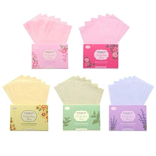 Papier buvard buvard d'huile Beaupretty 2 * 500 pièces (100 pièces de papier rose, 100 feuilles de parfum à la lavande, 100 pièces de thé vert, 100 pièces de camomille, 100 pièces de parfum)