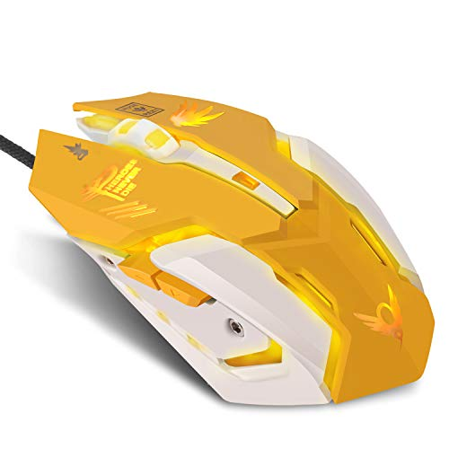 Lovely Wired USB Computer Gaming Mouse with Backlit,3200 DPI,for MacBook,Computer PC,Laptop (D.VA) (Yellow)