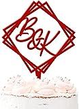 Decoración para tartas de boda, personalizable, acrílico, 20 colores, color rojo oscuro